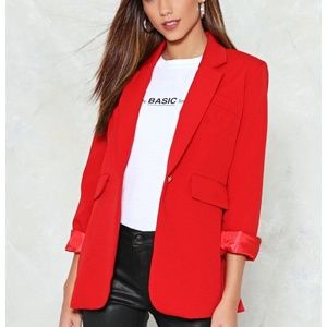 4 Nasty Gal Collection Hey There Tailor Red Blazer
